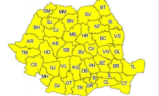 Cod galben de vânt puternic şi ploi în toată ţara, până la ora 23:00