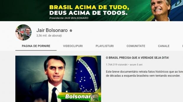 Platforma YouTube a suspendat pentru o săptămână canalul preşedintelui brazilian Jair Bolsonaro pentru informaţii false asociate vaccinului anticoronavirus